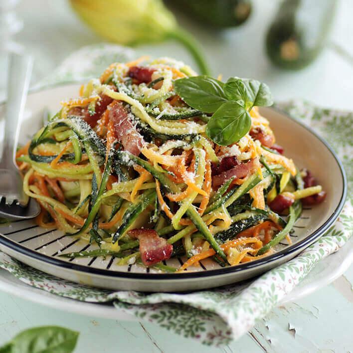 Recette du lieu rôti aux spaghettis de légumes à la vanille